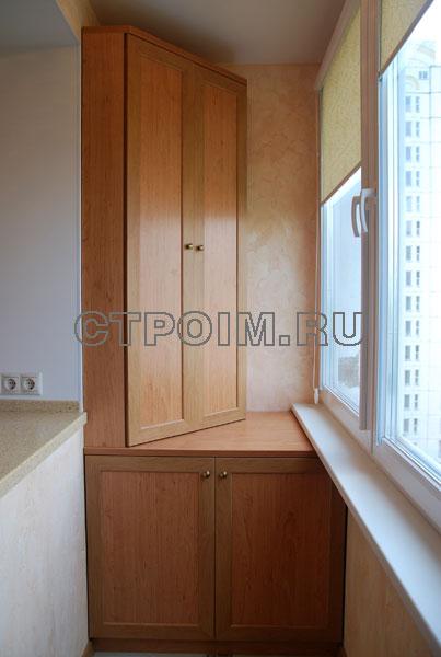 Дизайн мебели для присоединенного к кухне балкона.