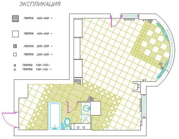 Схема 1 раскладки плитки для первого варианта.