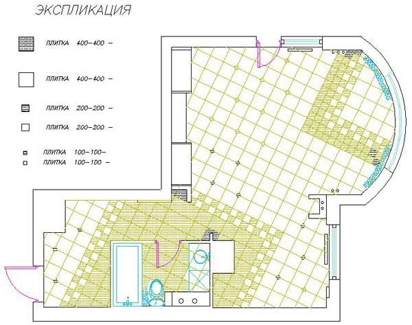 Схема №2 раскладки плитки для